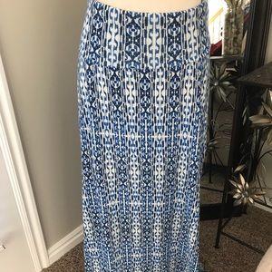 🎀 Blue Printed Maxi Skirt